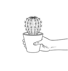 Hand with cactus coloring vector