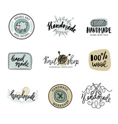 handmade line vintage logo set retro vector image