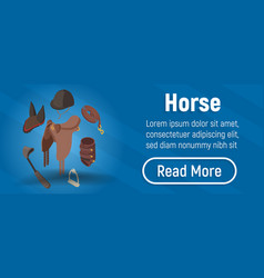 Horse concept banner isometric style vector