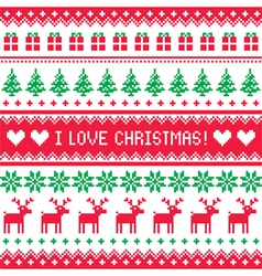 I love Christmas pattern - scandynavian sweater vector image