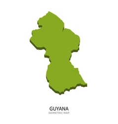 Isometric map of Guyana detailed vector image