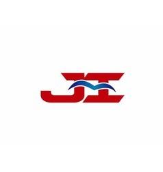 JI company linked letter logo vector image