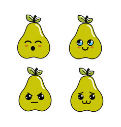 Kawaii pear diferents faces icon vector