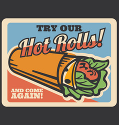 kebab shawarma retro poster of turkish fast food vector image