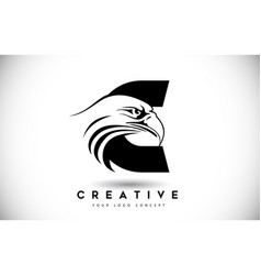 Letter c eagle logo with creative eagle head vector