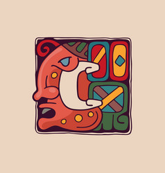 Letter c logo in aztec mayan or incas style vector