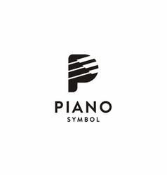 Letter p piano logo icon vector