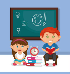 Little school kids couple with chalkboard vector