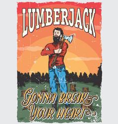 Lumberjack man poster vector