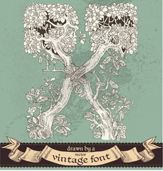 Magic grunge forest hand drawn by vintage font - X vector