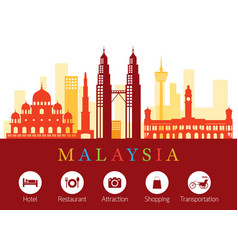 malaysia landmarks skyline with accommodation vector image