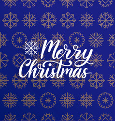 merry christmas lettering on snowflakes vector image