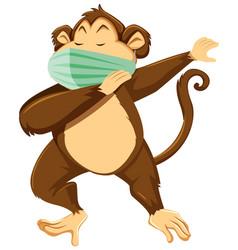 Monkey cartoon character wearing mask vector