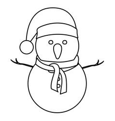 Monochrome contour of snowman with christmas hat vector