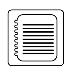 Monochrome contour square with spiral notebook vector