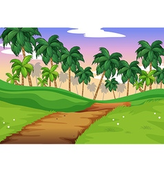 Nature scene with trail over the hills vector