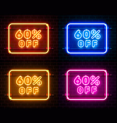 Neon 6 off text banner color set night sign vector