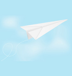 paper airplane in blue sky vector image