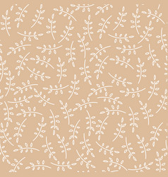 Pattern with cute twigs in brown color vector