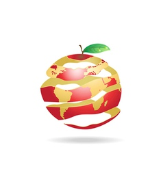 Peeled apple earth vector