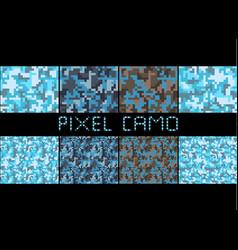 pixel camo seamless pattern big set urban blue vector image