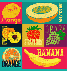 Pop art grunge style fruit poster set of fruits vector
