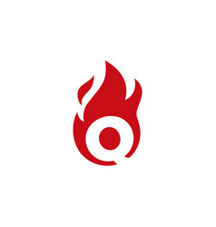 Q letter fire flame logo icon vector