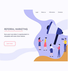 Referral marketing web template with megaphone and vector