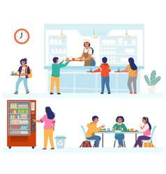 School canteen cafeteria cafe scene set flat vector