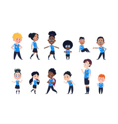 School kids cartoon happy children in uniform vector