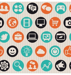 Seamless pattern with internet marketing icons vector