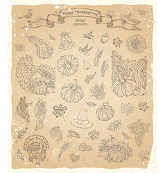Set of vintage Thanksgiving design elements vector