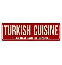 Turkish cuisine vintage rusty metal sign vector