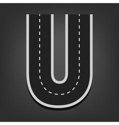U letter Road font vector image