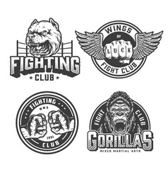 Vintage fight club monochrome logotypes vector