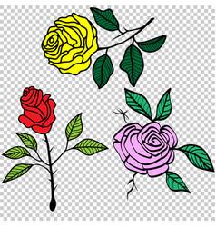 vintage roses set tattoo vector image