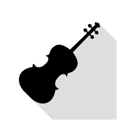 violine sign black icon with flat vector image vector image