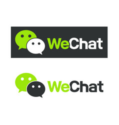 wechat logo symbol web icon comments color vector image