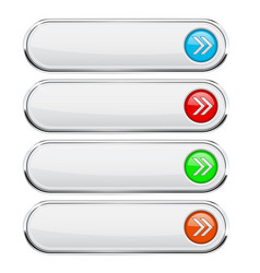 white buttons with colored arrows menu interface vector image