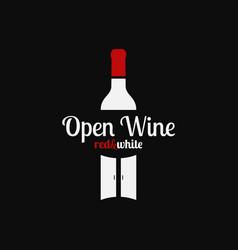 Wine bottle logo open with bottle and doors vector