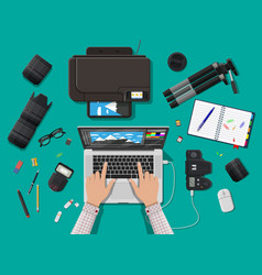 Workspace of photographer vector