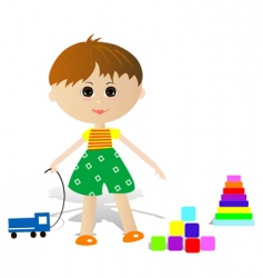 boy with toys vector image vector image