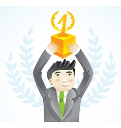 businesman holding cup - leadership concept - vector image vector image