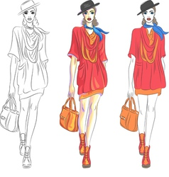 fashion girl top model vector image vector image