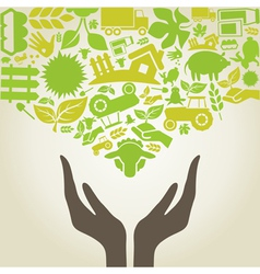 Hand agriculture vector image