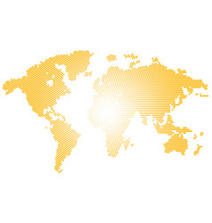 isolated yellow color worldmap of dots on white vector image vector image