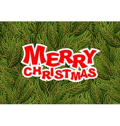 Merry Christmas pine branches Holiday greeting vector image vector image
