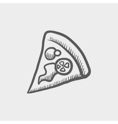 Pizza slice sketch icon vector image