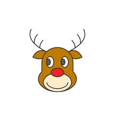 Reindeer Christmas flat line icon vector image vector image