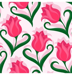 Seamless pattern with tulips flowers vector image
